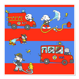Premium poster  animal fire brigade - Fluffy Feelings