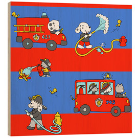 Wood print  animal fire brigade - Fluffy Feelings