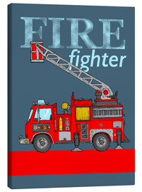 Canvas  fire fighter fire truck - Fluffy Feelings
