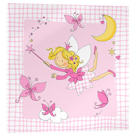 Acrylic print  flying fairy with butterflies on checkered background - Fluffy Feelings