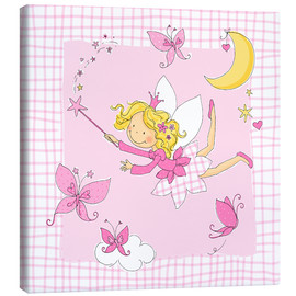Canvas print  flying fairy with butterflies on checkered background - Fluffy Feelings