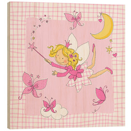 Wood print  flying fairy with butterflies on checkered background - Fluffy Feelings