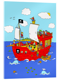 Acrylic print  pirate ship scene - Fluffy Feelings