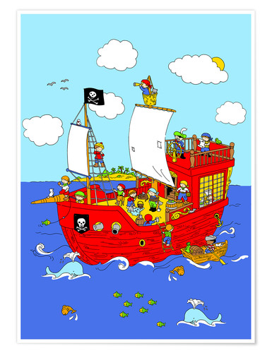 Premium poster pirate ship scene
