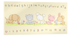 Acrylic print  baby pet animals with alphabet and numbers - Fluffy Feelings