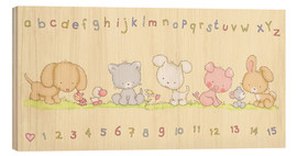 Wood print  baby pet animals with alphabet and numbers - Fluffy Feelings