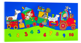 Acrylic print  tractor train with farm animals and numbers - Fluffy Feelings