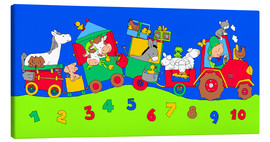 Canvas print  tractor train with farm animals and numbers - Fluffy Feelings
