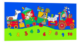 Foam board print  tractor train with farm animals and numbers - Fluffy Feelings