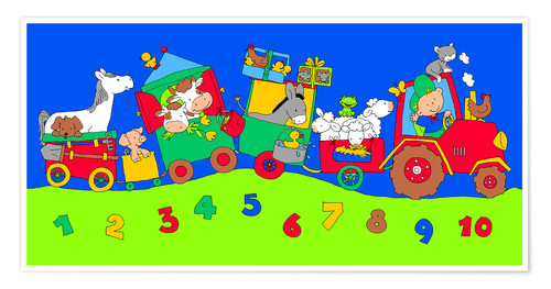 Premium poster tractor train with farm animals and numbers