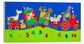 Wood print  tractor train with farm animals and numbers - Fluffy Feelings