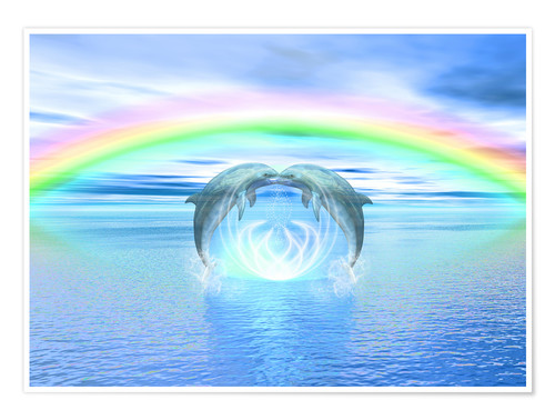 Premium poster Dolphins Rainbow Healing