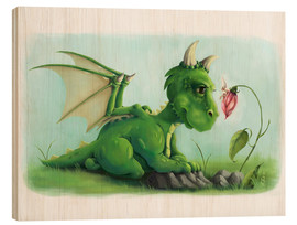 Wood print  Dragon with a little fairy - Alexandra Kreipl