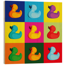 Wood print  Pop art duck - coico