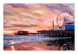 Premium poster Santa Monica Pier at Sunset