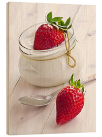 Wood print  Fresh strawberries with curd - Edith Albuschat