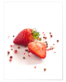 Premium poster  Strawberries with red peppercorns - Edith Albuschat