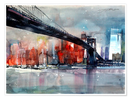 Premium poster  New York, Brooklyn Bridge IV - Johann Pickl