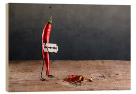 Wood print  Simple Things - Chili Pepper - Nailia Schwarz