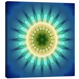 Canvas print  mandala blue light with Flower of Life - Christine Bässler