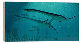 Wood  Three Plesiosaurus dinosaurs migrate with a school of fish. - Corey Ford