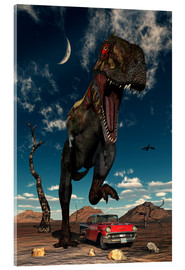 Acrylic print  A Tyrannosaurus Rex about to crush a Cadillac with his feet. - Mark Stevenson