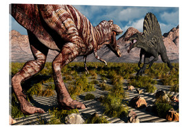 Acrylic glass  A confrontation between a T. Rex and a Spinosaurus dinosaur - Mark Stevenson