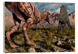 Wood print  A confrontation between a T. Rex and a Spinosaurus dinosaur - Mark Stevenson