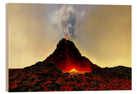 Wood print  An active volcan - Corey Ford