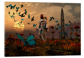 Acrylic print  A astronaut is greeted by a swarm of butterflies on an alien world. - Mark Stevenson
