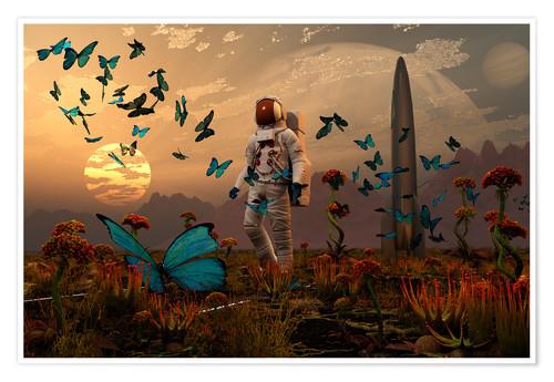 Premium poster A astronaut is greeted by a swarm of butterflies on an alien world.