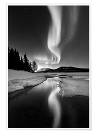 Premium poster  Aurora Borealis over Sandvannet Lake in Troms County, Norway - Arild Heitmann