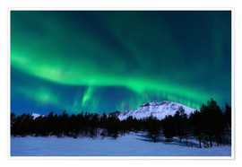 Premium poster  Aurora Borealis over Nova Mountain Wilderness, Norway. - Arild Heitmann