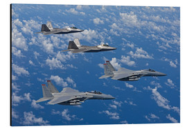 Aluminium print  Two F-15 Eagles and F-22 - HIGH-G Productions
