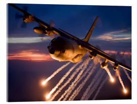 Acrylic print  C-130 Hercules releases flares - HIGH-G Productions