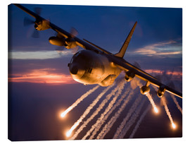 Canvas print  C-130 Hercules releases flares - HIGH-G Productions