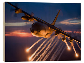 Wood print  C-130 Hercules releases flares - HIGH-G Productions