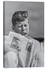 Canvas print  John F. Kennedy with a newspaper - John Parrot