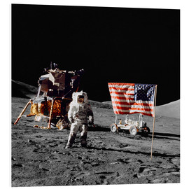 Foam board print  Apollo 17 astronaut stands near the United States flag - Stocktrek Images