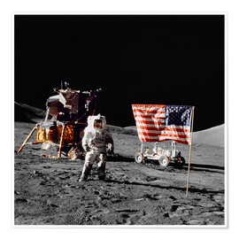 Premium poster  Apollo 17 astronaut stands near the United States flag
