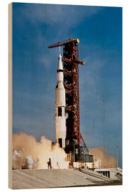 Wood print  Apollo 11 taking off from Kennedy Space Center - Stocktrek Images