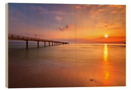 Wood print  Sunrise Binz pier - Marcus Klepper