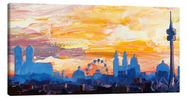 Canvas print  Munich Skyline at Dusk with Alps - M. Bleichner