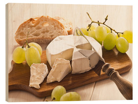 Wood print  Cheese and grapes - Edith Albuschat