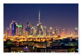 Premium poster  Dubai skyline at night - Stefan Becker
