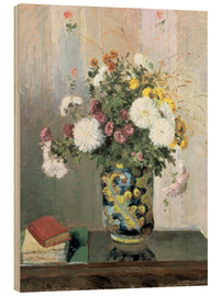 Wood print  Bouquet of Flowers, Chrysanthemums in a Chinese Vase - Camille Pissarro