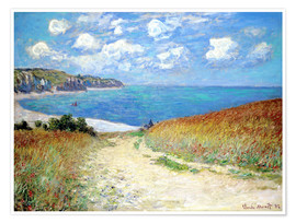 Poster  Path through the Wheat at Pourville - Claude Monet