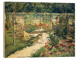 Wood print  The Bench in the Garden of Versailles - Edouard Manet