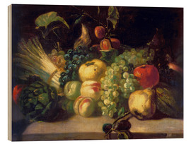 Wood print  Still life with fruits and vegetables - Theodore Gericault
