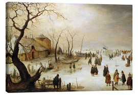 Canvas print  A winter landscape with figures on the ice - Hendrick Avercamp